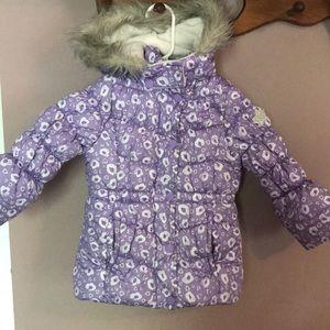 OshKosh Toddler 4T Hooded Winter Coat Purple/White
